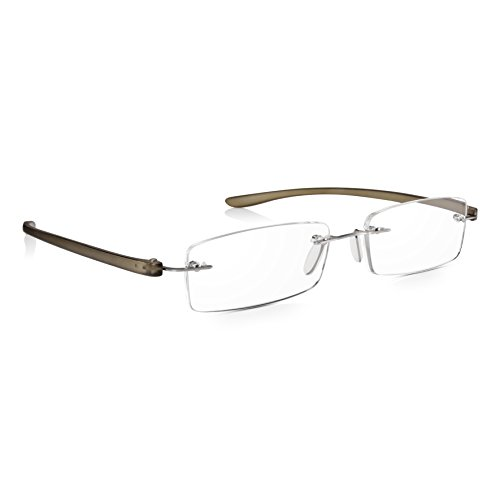 Read Optics rahmenlose Lesebrille +1,5 Dioptrien: Neue patentierte SecureLoc Brille für Damen und Herren, die garantiert nicht auseinander fällt. Mit robusten, biegbaren, kratzfesten Bügeln in Grau