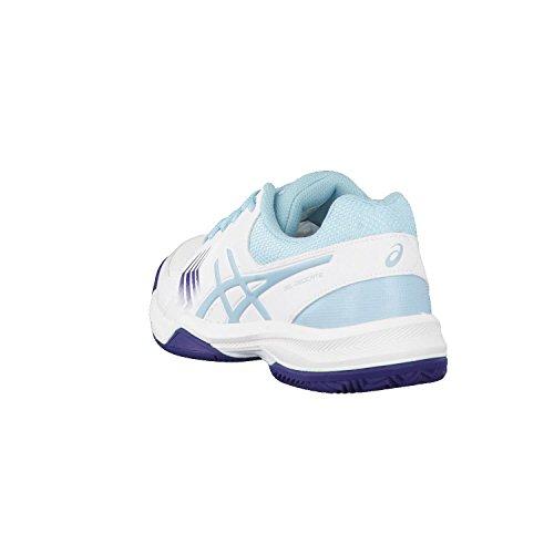 Asics Gel-Dedicate 5 Clay, Scarpe da Tennis Donna Multicolore (White/Porcelain Blue/Indigo Blue 0114)