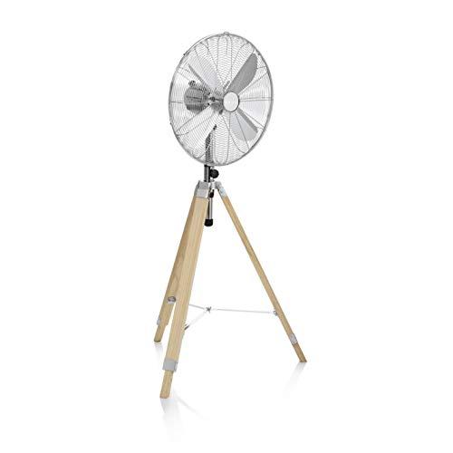 Tristar VE-5805 - Ventilador de pie, 45cm, trípode de madera, color plata