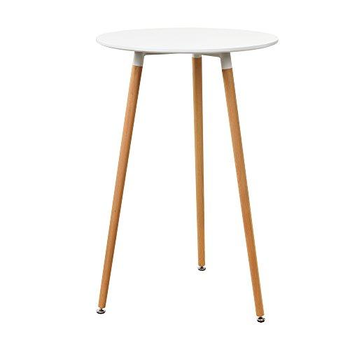 [en.casa] Bartheke/Bartisch/Stehtisch weiß (ø70cm) - Rund Design