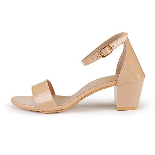 DEEANNE LONDON Women's Single Strap Block Heels (37, Beige-1)...