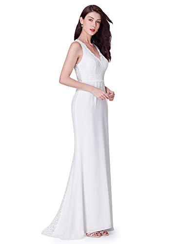 Ever-pretty vestito da sera lungo donna senza spalline ricamato senza maniche 42 avorio