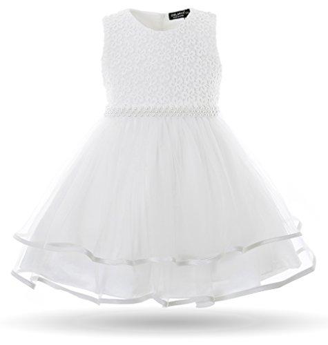 CIELARKO Baby Mädchen Kleid Blumen Spitze Tüll Taufkleid Kinder Hochzeits Festlich Kleider, Weiß, 7-12 Monate