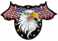 Stemma ricamato toppe termoadesivi ricamo su per vestiti ecusson,, eagle head con delle stelle e sventolando bandiere americani grande ritorno patch-12x 8.5pollice,,