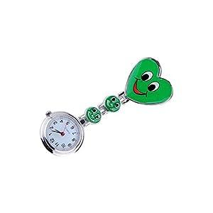 Taschenuhr – SODIAL(R) Neue Maedchen Suesses Laecheln Uhr mit Herz-Anhaenger Krankenschwester Uhr Schwester Taschenuhr schoenes Geschenk Gruen