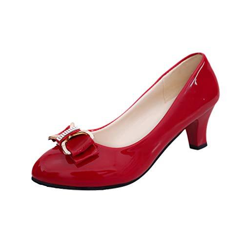 Dragon868 Scarpe Donna Elegante con Tacco 6cm pellenta Rotonda Bowknot Larghi Tacco A Blocco Classico Single Shoes Businese Ladies 35-42