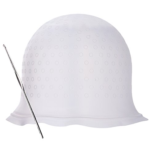 Haare Färben Kappe Silikon Hervorhebung Cap mit Metall Haar Haken für Färben Haar (Weiß) (Weiße Haare Färben)