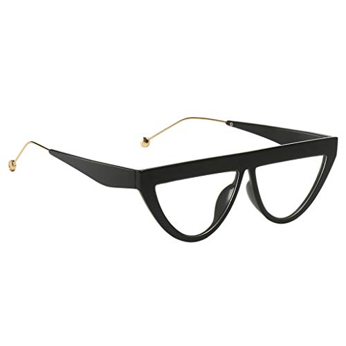 Unbekannt Retro Sonnenbrille UV400 Polka Dot Frame Brille Gläser Party Kostüm Requisiten - Black Frame Clear Lens