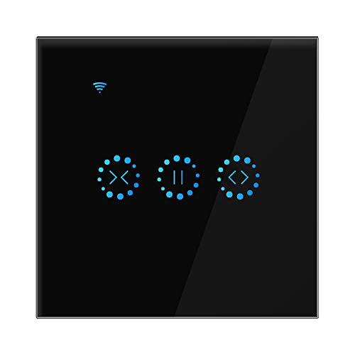 AOZBZ Smart Curtain Roller Touch Screen Switch Wireless WiFi Elektrische Jalousien Wandschalter kompatibel mit Alexa Google Assistent für Garage elektrische Tür (Neutrale Linie erforderlich), schwarz