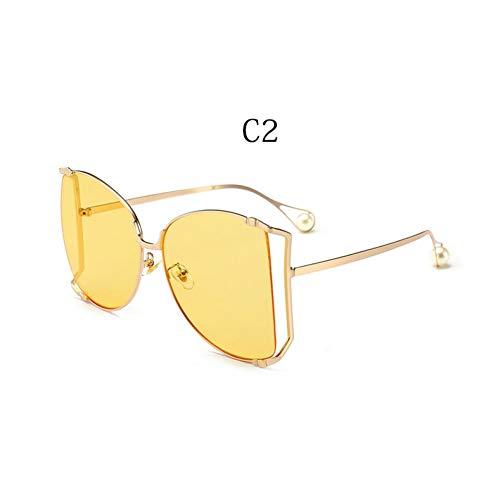 MYTYJ Übergroße D-Quadrat Sonnenbrille Frauen Luxusmarke Cat Eye Clear Shades Brille Pearl Fashion Half Frame Sonnenbrille Damen