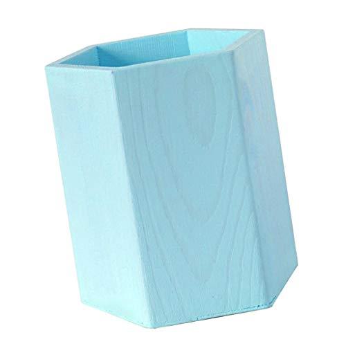 P prettyia porta-penne in legno da decorare forma geometrica portapenne da scrivania portaoggetti organizer contenitore per cancelleria - esagono blu