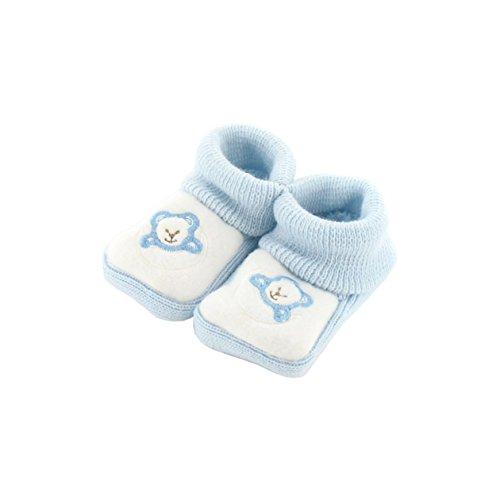 Chaussons pour bébé 0 à 3 Mois bleu et blanc - Motif Ourson Lune