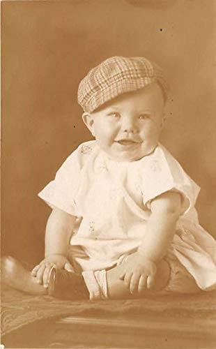 People and Children Photographed on Postcard, Old Vintage Antique Post Card Young boy with a hat Melton Odell Davis Age 7 months 1928 Writing on back