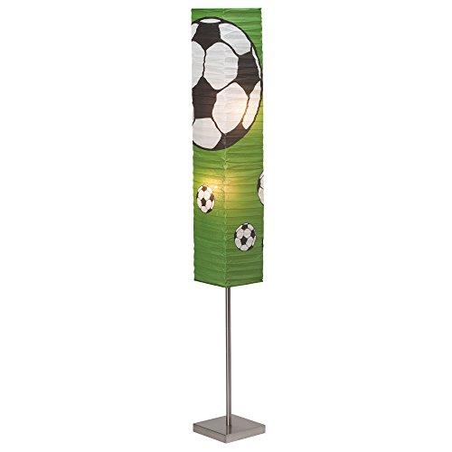 Soccer Stehleuchte mit Papierschirm, Höhe 145 cm, 2x E14 max. 40W, Metall / Reispapier, eisen / grün-schwarz-weiß