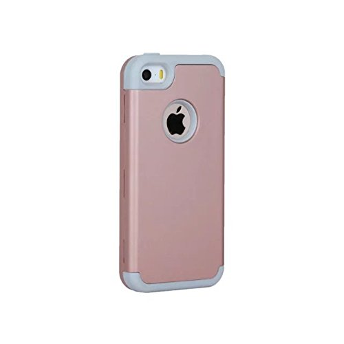 iPhone 5 5S 5C Coque,iPhone SE Coque,Lantier Slim givré Matte finition design antichoc Hybride double couche protection Defender Housse pour Apple iPhone 5/5S/5C/SE Menthe verte+Gris Rose Gold+Grey