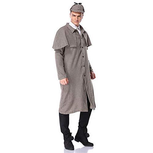 JACKII Sherlock Holmes Kostümdetektiv Detektiv Auftritt, Festival, Party, Halloween,L (Sherlock Holmes Kostüm Halloween)