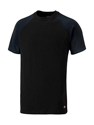 Dickies Two Tone T-Shirt SH2007, 100%Baumwolle, 180g/m², verschiedene Farben (L, Schwarz / Marineblau) (Tone-raglan-t-shirt)