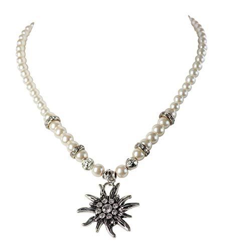 Schöneberger Trachten Couture Trachtenkette Edelweiss Kristallstein - Perlenkette Oktoberfest - Halskette Dirndl & Lederhose (Kristall)