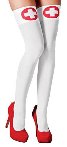 Boland- Calze Autoreggenti Infermiera Nurse per Adulti, Bianco/Rosso, Taglia Unica, 02254