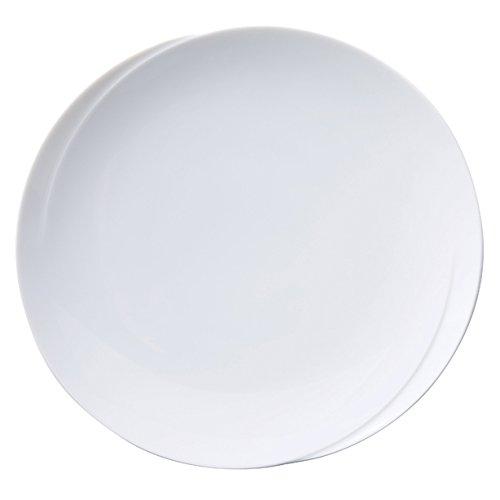 TheKitchenette Lot de 4 Assiette Plates de 28cm en Porcelaine Blanche Infinity