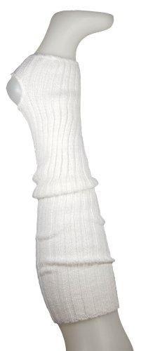Stulpen Damen Wadenlang 55cm + Fersenloch Weiß- Beinlinge Strick Weich Legwarmer Tanzstulpen Mädchen Beinstulpen (Arm-stulpen Weiße)