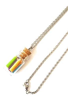Cadeau maîtresse, collier femme fiole crayons de couleur pate fimo