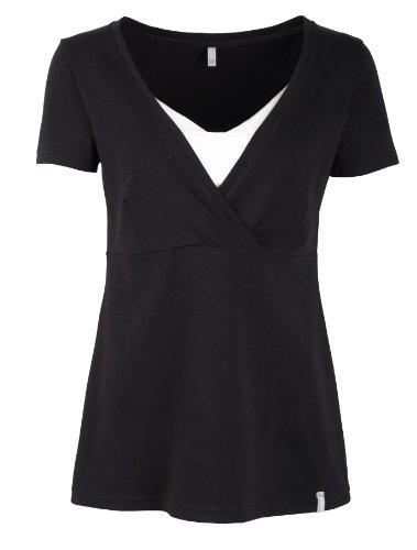 T-shirt pour maternité, t-shirt pour allaitement, modèle : FREE, à manches longues ou courtes Noir / manches courtes