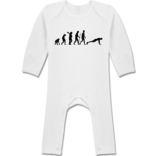 Shirtracer Evolution Baby - Liegestütze Evolution - 12-18 Monate - Weiß - BZ13 - Baby-Body Langarm für Jungen und Mädchen