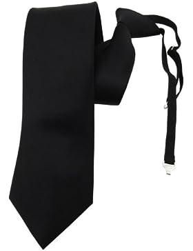 TigerTie Security Satin Seidenkrawatte in uni einfarbig mit Gummizug fest vorgebunden - Krawatte 100% Seide