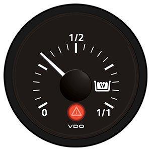 VDO Viewline Onyx Wastewater Gauge 12/24V - Use with VDO Capacitive Sender