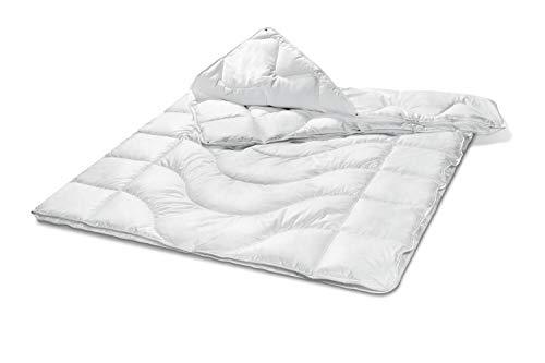 Bodyprotect 4-Jahreszeitendecke Ganzjahresdecke Baumwolle Bettdecke mit Körperzonensteppung 155 x 220 cm, Weiß