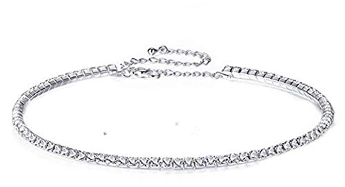 PICCOLI MONELLI Halskette Strass Rundhalsausschnitt Rigida Collier Damen Elegant klassisch 1 Draht Zirkonia Farbe Silber