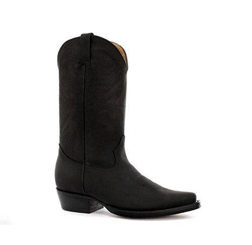 Bottes homme style Lousiana cowboy western cuir véritable noir ou marron bouts pointus