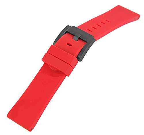 TW Steel Silikonband, 22 mm, rot, schwarz, Schließe