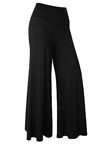 BAISHENGGT Women's Yoga Gym Sport Practise Long Lounge Palazzo Pants Trouser Leggings Black Large