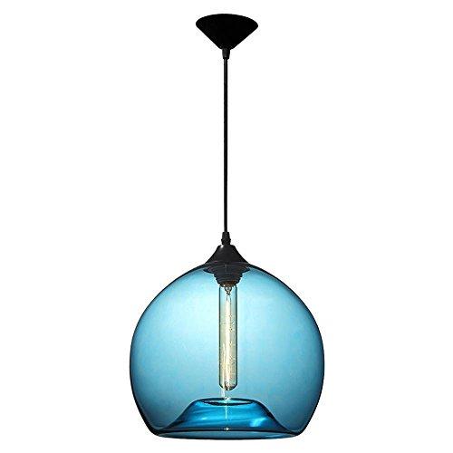 Vampsky 1-Light Moderne Glas Deckenpendler Beleuchtung Mundgeblasen Blaue Blase Glaskugel Lampenschirm Pendelleuchte Hängen Beleuchtung Esszimmer Scheune Lager Bar Küche Eisen Metall Kronleuchter -
