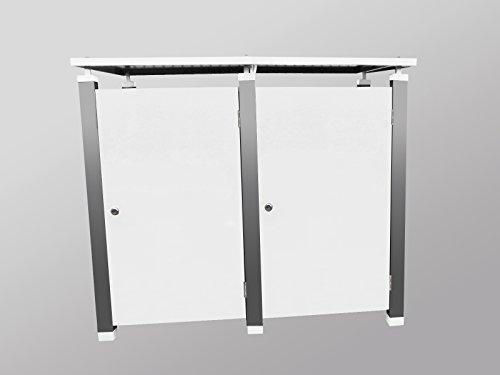 Mülltonnenboxen Metall, Modell Pacco EG für zwei 120 ltr. Tonnen in Weiß - 2