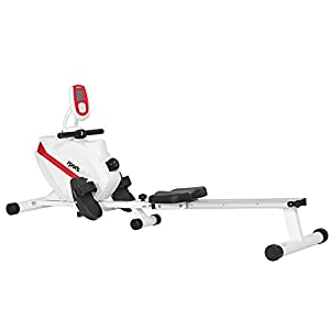 SportPlus Rudergerät für zuhause mit Magnetbremssystem oder Wasserwiderstand, klappbar, brustgurtkompatibel, kugelgelagerter Rudersitz, Transportrollen, Trainingscomputer, Sicherheit geprüft