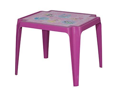 PRO GARDEN Progarden 943Mesa Infantil tavolo Baby 'Princess' Mimbre, 50x 55x 45cm, Color Rosa