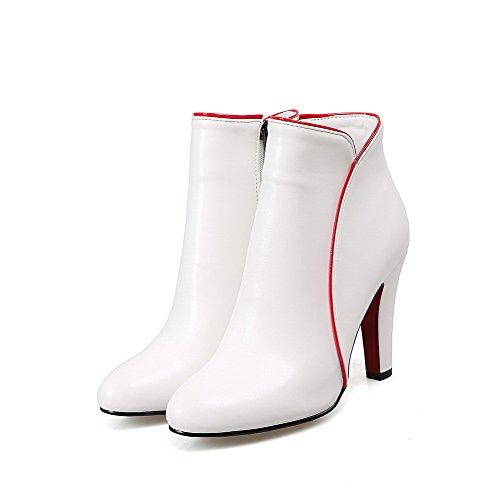 VogueZone009 Damen Gemischte Farbe Reißverschluss Knöchel Hohe Pu Leder Hoher Absatz Stiefel Weiß