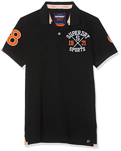 Superdry Herren Classic SUPERSTATE Pique Polo Poloshirt, Schwarz (Blackboard 04a), Large (Herstellergröße: L) -