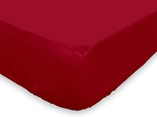 Soleil d'Ocre 614807 - Drap Housse Coton 57 Fils Uni - Rouge