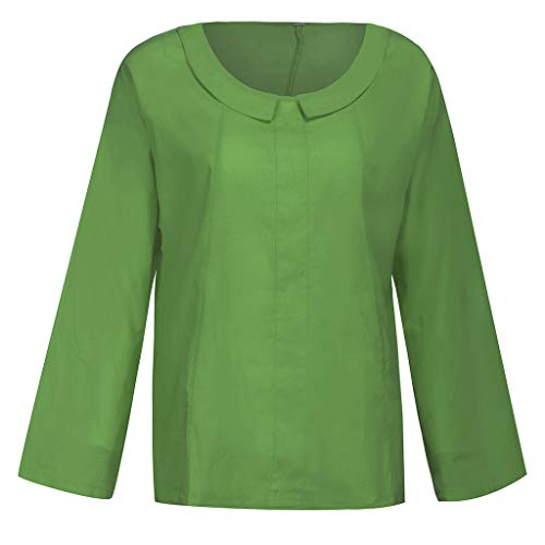 iYmitz 3/4-Arm Damen Streetwear Einfarbig Rundausschnitt Leinen Frauen Freizeit Bluse Sommer Freizeithemd(Grün,EU-48/CN-4XL) (Marienkäfer Kostüm Muster)