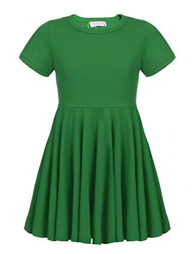 Kleid Mädchen Sommer A-Linie Kurzarm Baumwolle T-Shirt Kleider Freizeitkleidung, Grün, 140