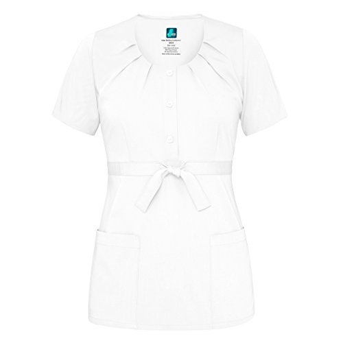 Adar Indulgenc Jr. Fit Scoop Neck Plissee Scrub Top Gr. X-Large, weiß (Solide Mock Neck)