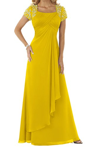 Ivydressing Damen Beliebt Kurz Aermel Mit Steine Chiffon Lang Festkleid Ballkleid Abendkleid Golden