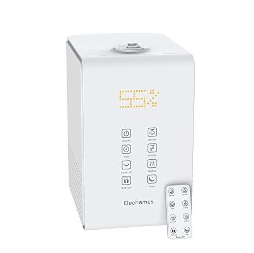 Elechomes Ultraschall Luftbefeuchter,5.5L Top-Füllung Anti-bakterieller Raumbefeuchter Warm/Kalt Dampf mit Fernbedienung&Feuchtmonitor, Aroma-Diffusor für Baby Schlafzimmer bis 40-70m²