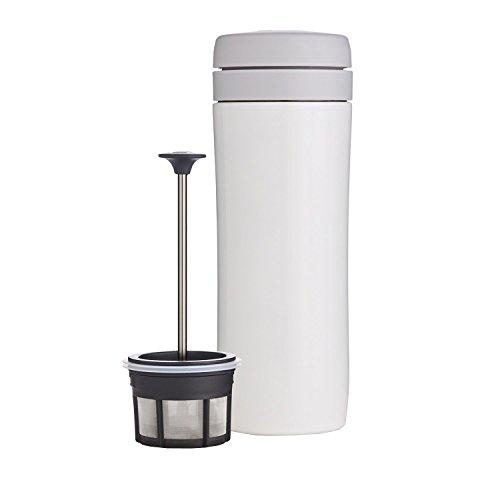 ESPRO Reise-French Press Travel Press, Mini Coffee Maker mit Thermo-Funktion, Edelstahl, Kaffee, to go, 350ml, weiß (French Press-reinigung)