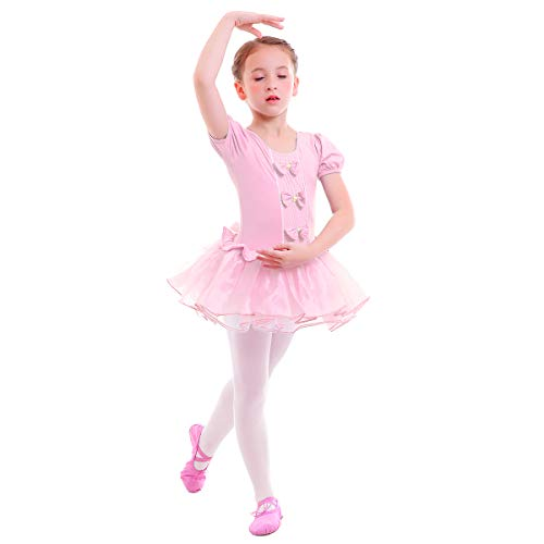 Fairy Kostüm Fancy Dress - IWEMEK Kleinkind Kinder Mädchen Tutu Tüll Ballett Gymnastik Trikot Kleid mit Bowknot Ballerina Fancy Fairy Swan Kostüm Kinder Kurzarm Tanzbekleidung Rosa 6-7 Jahre