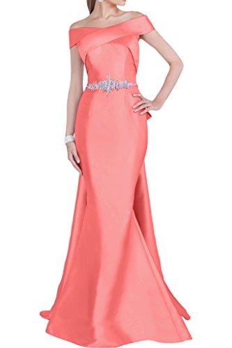 Gorgeous Bride Beliebt Lang Meerjungfrau Satin Abendkleider Partykleider Cocktailkleider Rot
